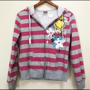 Disney Hoodie Sweatshirt Tinker Bell Stripe Zip Up